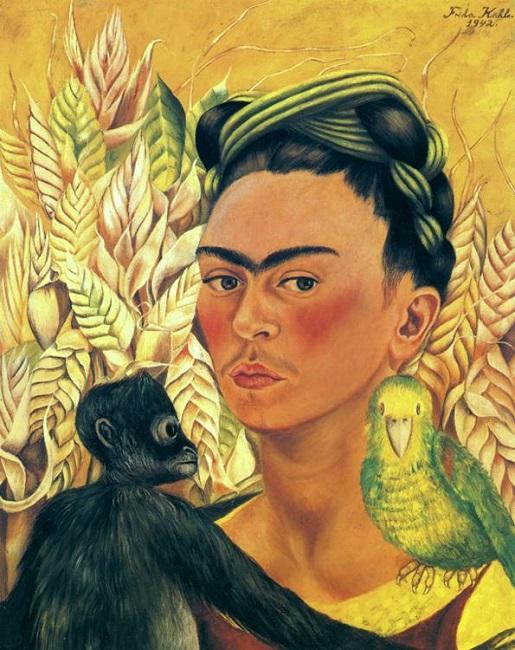 Frida-Kahlo-1942_Autorretrato-Loro-Chango