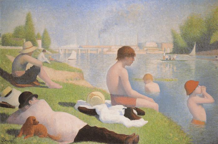 """Célebre pintura """"Banhistas"""", de Georges Seurat"""